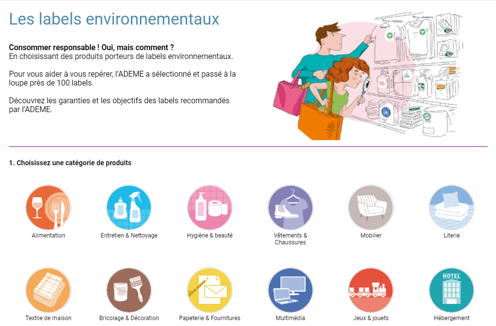 page ADEME labels environnementaux