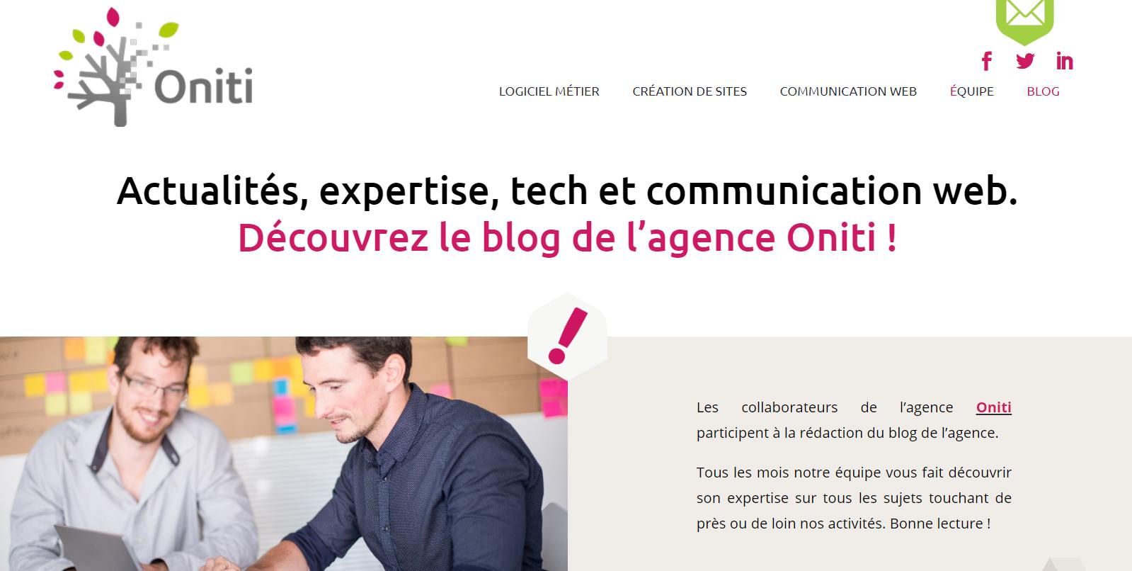 Un contenu éditorial co-construit pour nourrir la personnalité d'Oniti, agence de développement de logiciels métier