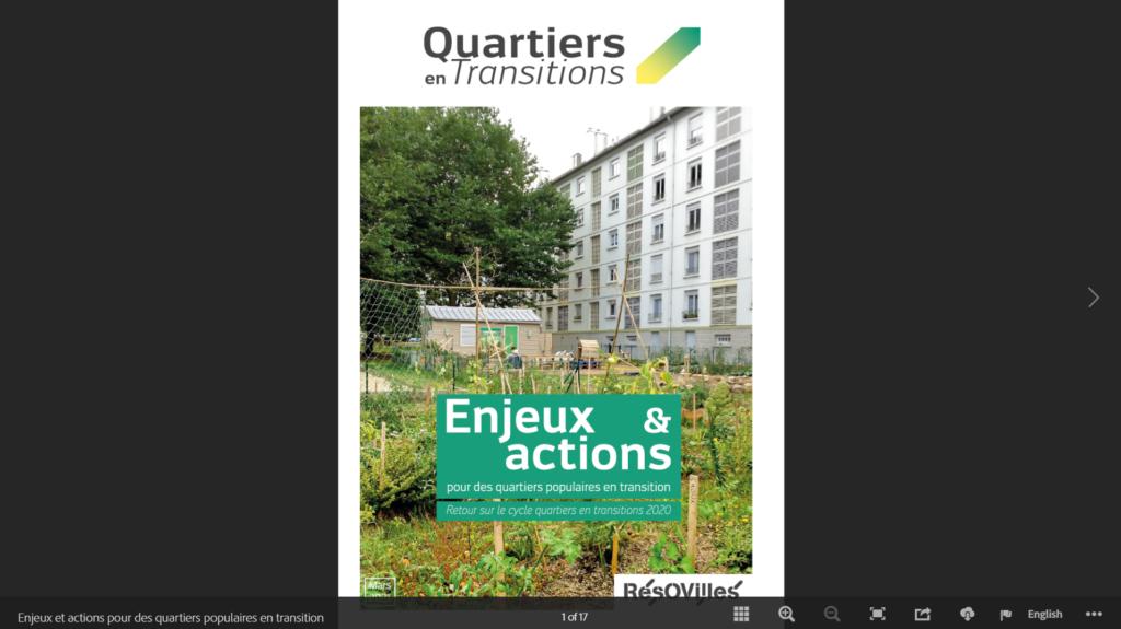 couverture publication quartiers en transition